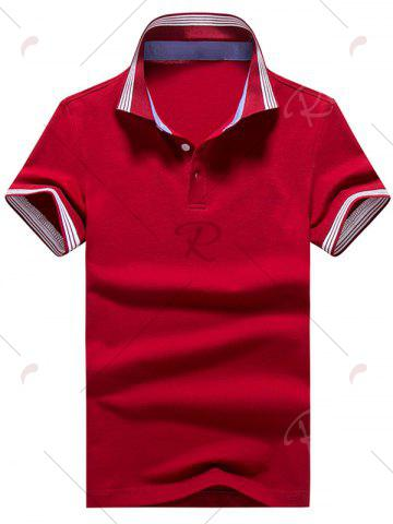 Cheap Short Sleeve Striped Trim Golf Shirt - 2XL RED Mobile