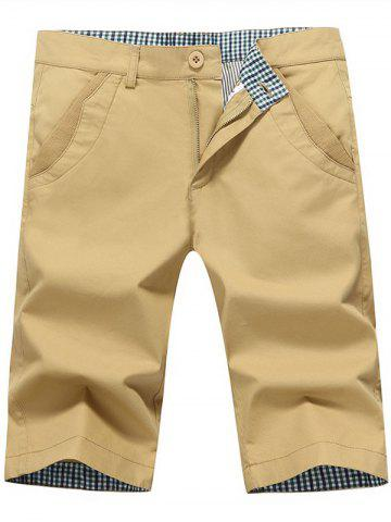 Unique Zip Fly Back Pockets Bermuda Shorts - KHAKI 34 Mobile