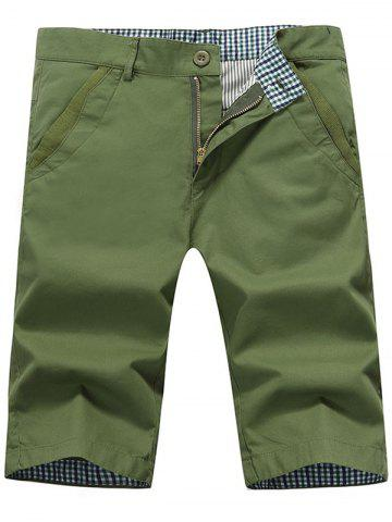 Unique Zip Fly Back Pockets Bermuda Shorts ARMY GREEN 36