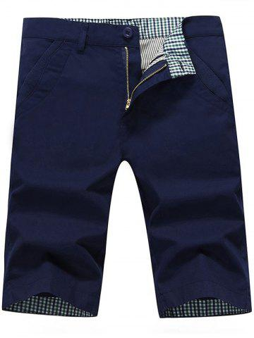 Zip Fly Back Pockets Bermuda Shorts Bleu Foncé 34