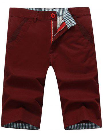 Hot Zip Fly Back Pockets Bermuda Shorts - WINE RED 38 Mobile