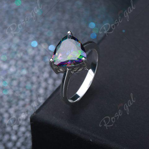 Discount Artificial Gem Triangle Ring - 7 SILVER Mobile