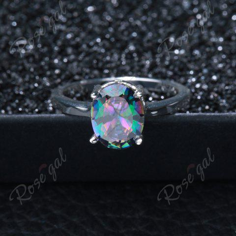 Best Faux Gemstone Oval Ring - 7 SILVER Mobile