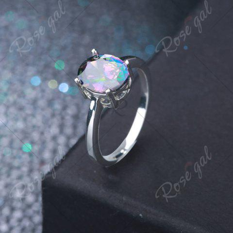 Discount Faux Gemstone Oval Ring - 7 SILVER Mobile