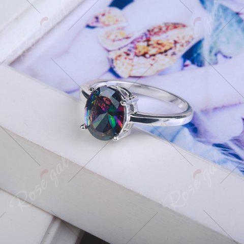 Unique Faux Gemstone Oval Ring - 7 SILVER Mobile