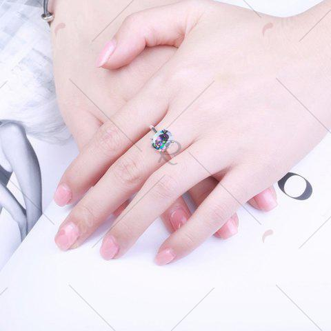 Buy Faux Gemstone Oval Ring - 7 SILVER Mobile