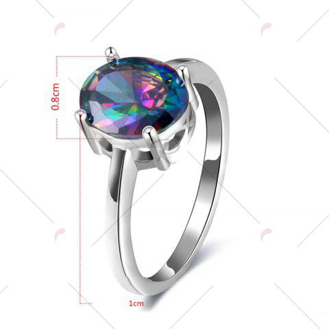 Sale Faux Gemstone Oval Ring - 8 SILVER Mobile