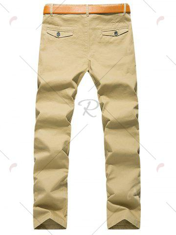 Best Slim Fit Zipper Fly Chino Pants - 32 KHAKI Mobile