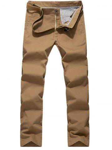Online Slim Fit Zipper Fly Chino Pants - 38 EARTHY Mobile