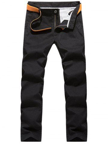 Best Slim Fit Zipper Fly Chino Pants - 38 BLACK Mobile