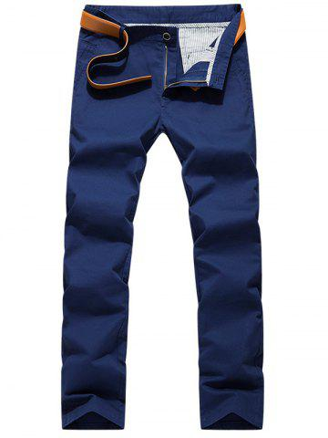 Latest Slim Fit Zipper Fly Chino Pants - 38 BLUE Mobile
