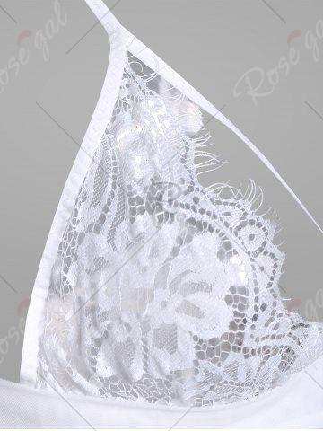 Affordable Lace Sheer Slip Lingerie Dress - ONE SIZE WHITE Mobile