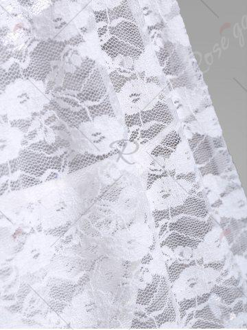Outfit Lace Sheer Low Cut Lingerie Babydoll - ONE SIZE WHITE Mobile