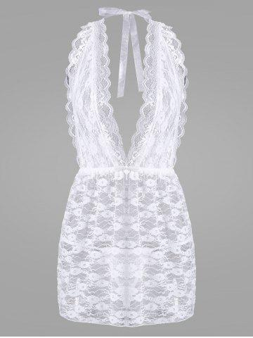 Affordable Lace Sheer Low Cut Lingerie Babydoll - ONE SIZE WHITE Mobile