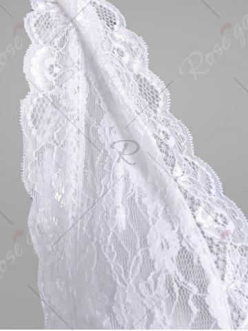 Best Lace Sheer Low Cut Lingerie Babydoll - ONE SIZE WHITE Mobile