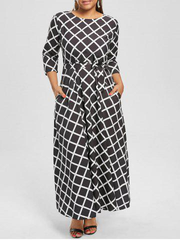 Maxi Checked Belted Dress for Plus Size - Black - 4xl