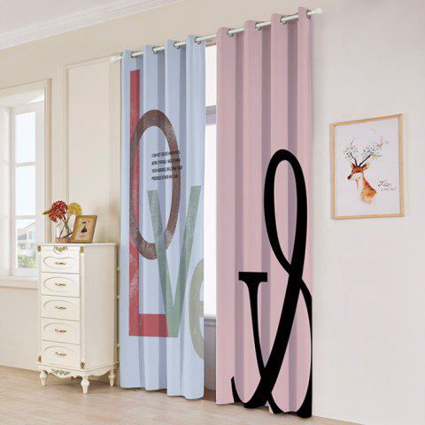 2 panneaux Love Letter Print Blackout Window Curtains Multicolore Largeur53pouces*Longeur84.5pouces