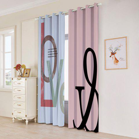 Outfit 2 Panels Love Letter Print Blackout Window Curtains COLORMIX W53 INCH * L96.5 INCH