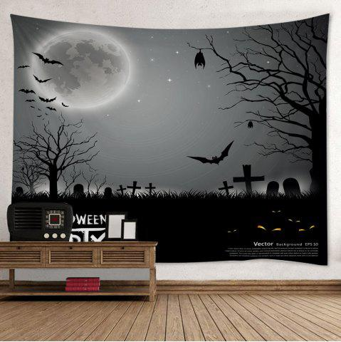 Halloween Cemetery Print Tapestry Wall Hanging Art Decoration - Gray - W79 Inch * L59 Inch