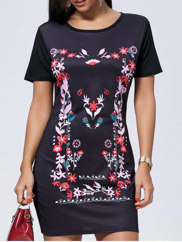 Casual Short Sleeve Print Short T Shirt Dress - Black - Xl