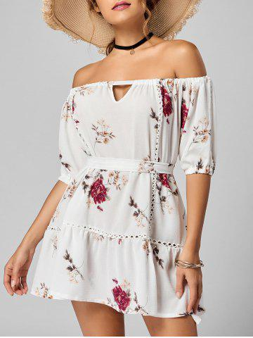 Cheap Off The Shoulder Floral Drop Waist Dress WHITE M