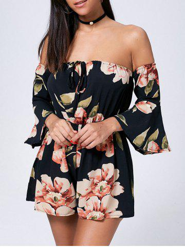 Floral Off The Shoulder Bell Sleeve Romper Noir M
