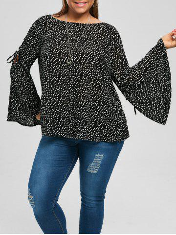 Plus Size Lace Up Bell Sleeve Blouse - Black - 4xl