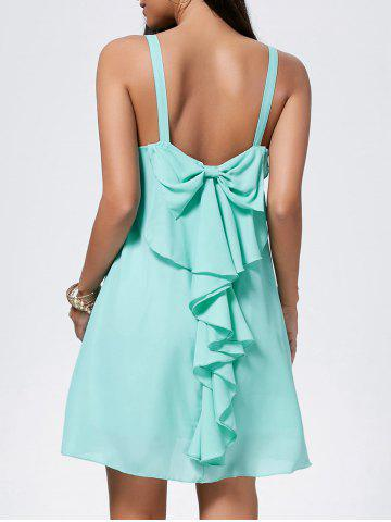 Shops Bowknot Chiffon Trapeze Mini Dress - S LIGHT GREEN Mobile
