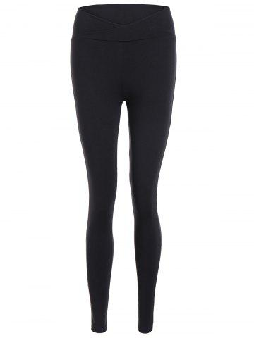 Fancy High Waist Fitted Sport Pants - S BLACK Mobile