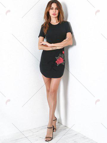 Chic Fitted Short Sleeve Tee Embroidery Dress - S BLACK Mobile