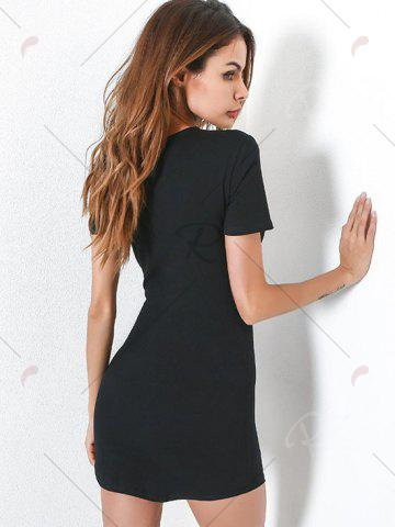 Online Fitted Short Sleeve Tee Embroidery Dress - L BLACK Mobile