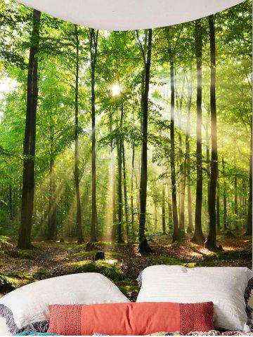 Latest Forest Sunlight Decorative Wall Art Tapestry - W79 INCH * L59 INCH GREEN Mobile