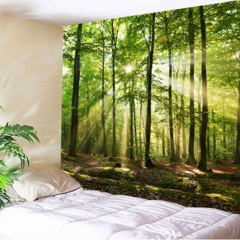 Outfit Forest Sunlight Decorative Wall Art Tapestry - W79 INCH * L59 INCH GREEN Mobile