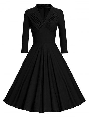 Pleated Long Sleeve Vintage Pinup Dress - Black - S