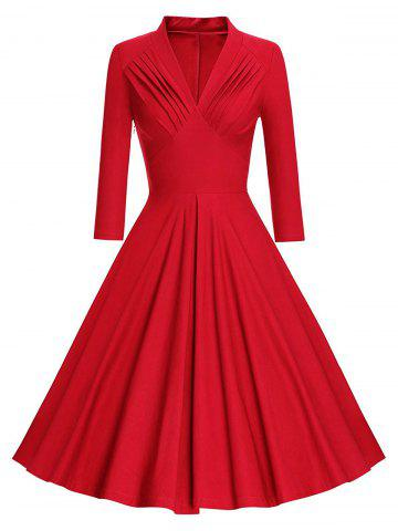 Pleated Long Sleeve Vintage Pinup Dress - Red - Xl