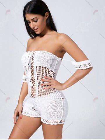Buy Off Shoulder See Thru Openwork Knit Romper - ONE SIZE WHITE Mobile