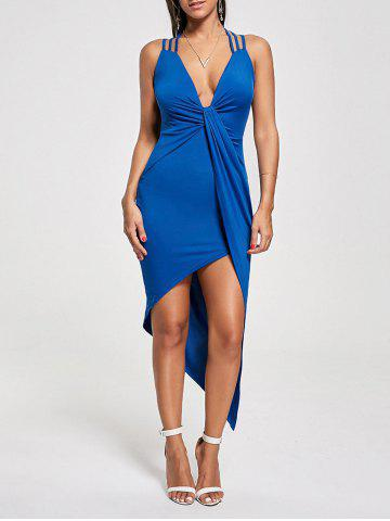 Fancy Club Cutout Criss Cross Front Twist Asymmetric Dress BLUE L