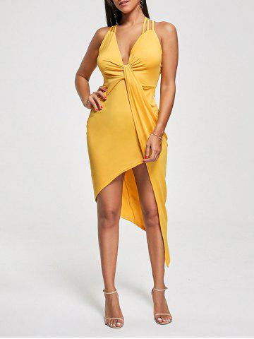 Buy Club Cutout Criss Cross Front Twist Asymmetric Dress - M YELLOW Mobile