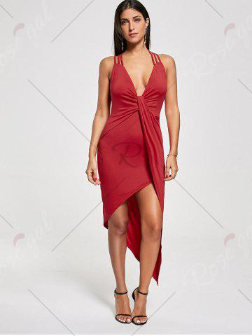 Outfit Club Cutout Criss Cross Front Twist Asymmetric Dress - M RED Mobile