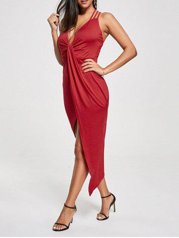 Cheap Club Cutout Criss Cross Front Twist Asymmetric Dress RED M