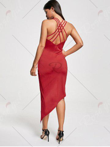 Best Club Cutout Criss Cross Front Twist Asymmetric Dress - L RED Mobile