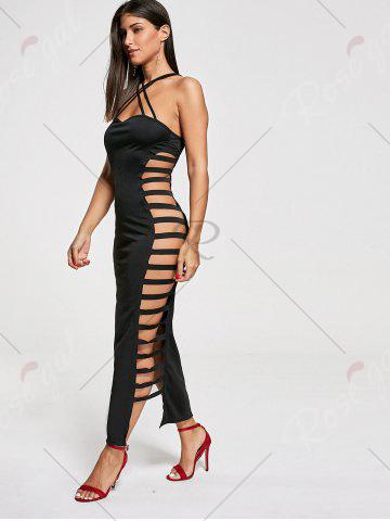 Fashion Backless Criss Cross Cut Out Maxi Club Dress - M BLACK Mobile