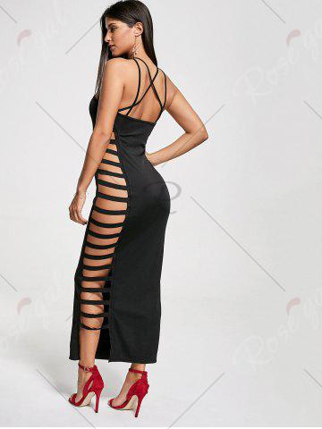 Hot Backless Criss Cross Cut Out Maxi Club Dress - S BLACK Mobile