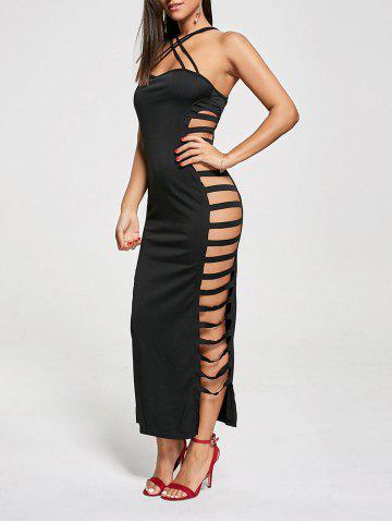Online Backless Criss Cross Cut Out Maxi Club Dress - S BLACK Mobile