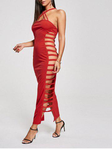 Chic Backless Criss Cross Cut Out Maxi Club Dress - M RED Mobile