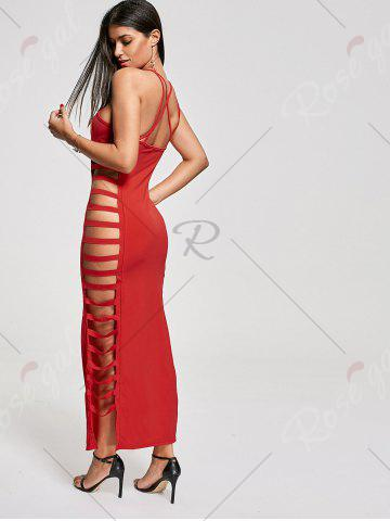 Fancy Backless Criss Cross Cut Out Maxi Club Dress - M RED Mobile