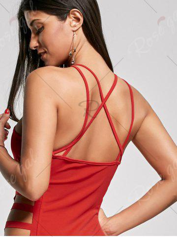 Cheap Backless Criss Cross Cut Out Maxi Club Dress - L RED Mobile