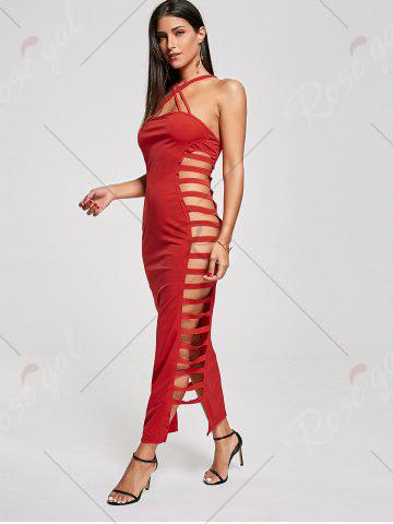 Fancy Backless Criss Cross Cut Out Maxi Club Dress - L RED Mobile