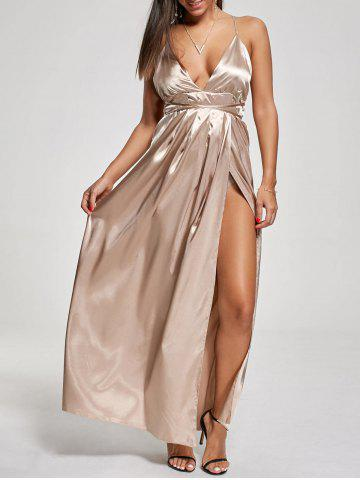 Unique Backless Metallic High Slit Evening Formal Dress KHAKI M