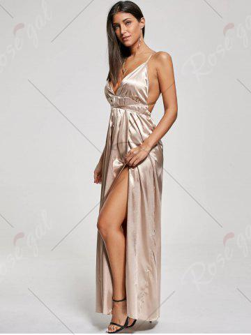 Outfits Backless Metallic High Slit Evening Maxi Dress - M KHAKI Mobile